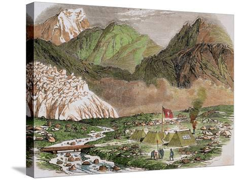 Switzerland, 19th Century, Camp of the Officials of Federal Swiss Major State at Furka--Stretched Canvas Print
