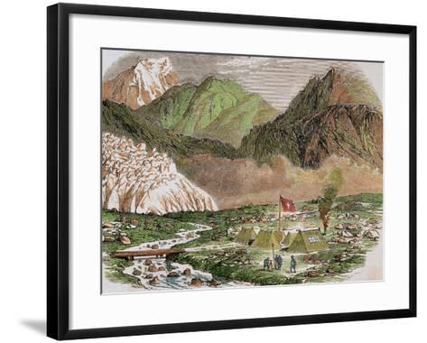 Switzerland, 19th Century, Camp of the Officials of Federal Swiss Major State at Furka--Framed Art Print