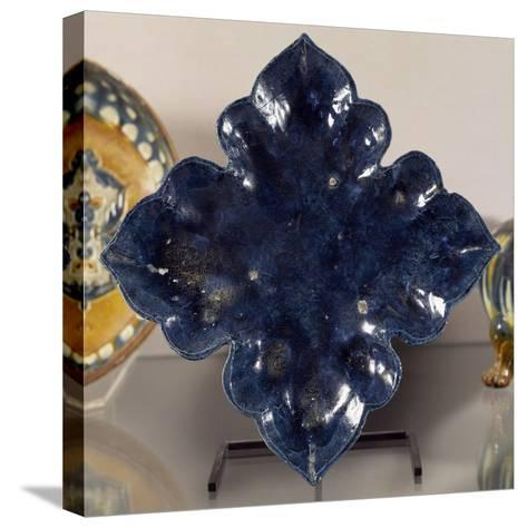 Blue Glazed Terracotta Leaf-Shaped Plate, China, Tang Dynasty--Stretched Canvas Print
