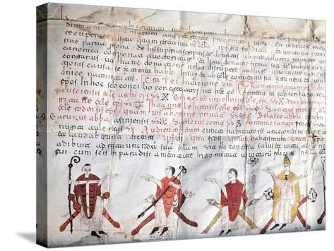 Minutes of the Council of Jaca. 11th Century. Fragment.--Stretched Canvas Print