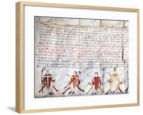 Minutes of the Council of Jaca. 11th Century. Fragment.--Framed Art Print