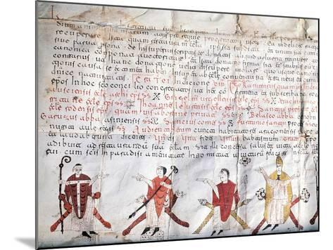 Minutes of the Council of Jaca. 11th Century. Fragment.--Mounted Giclee Print