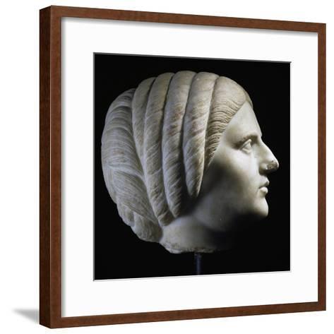 Marble Head of Woman, Profile View, Uncovered in Pergamon, Turkey. Roman Civilization, 193-211 Ad--Framed Art Print