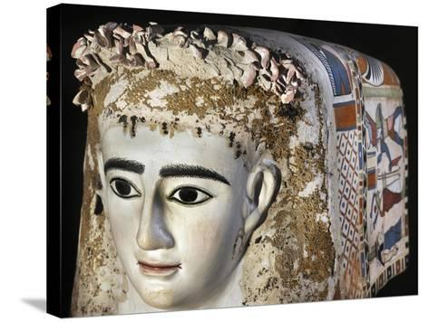 Female Funerary Mask, Painted Plaster, from Meir, Detail, Roman Empire 1st Century--Stretched Canvas Print