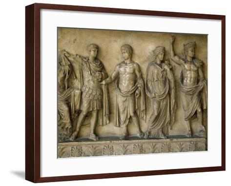 Apotheosis of Augustus, Fragment of Bas-Relief AD--Framed Art Print