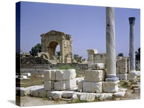 Tyre, Lebanon, Tuinds of Antique Town with Triumphal Arch--Stretched Canvas Print