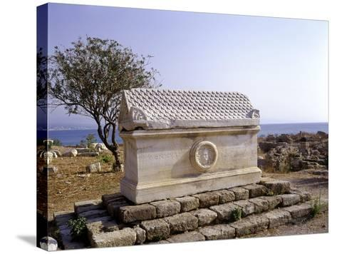 Tyre, Lebanon Sarcophagus with Greek Inscription and Meduse Head in Medallion--Stretched Canvas Print