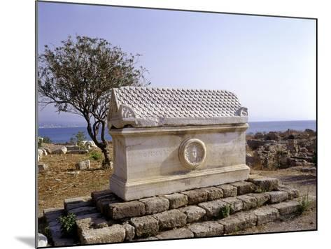 Tyre, Lebanon Sarcophagus with Greek Inscription and Meduse Head in Medallion--Mounted Giclee Print