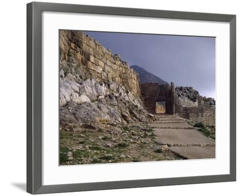 Main Entrance to Acropolis of Mycenae and Lions' Gate, Greece--Framed Art Print