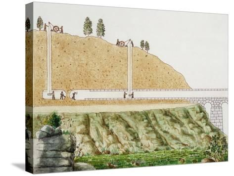 Constructing the Aqueduct Passing Through Mountain--Stretched Canvas Print