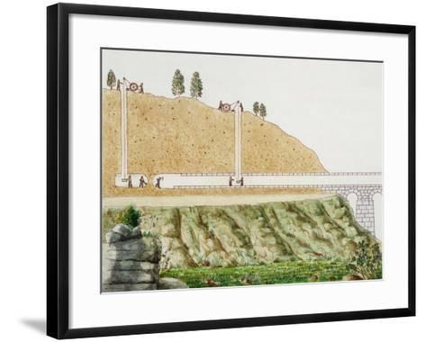 Constructing the Aqueduct Passing Through Mountain--Framed Art Print