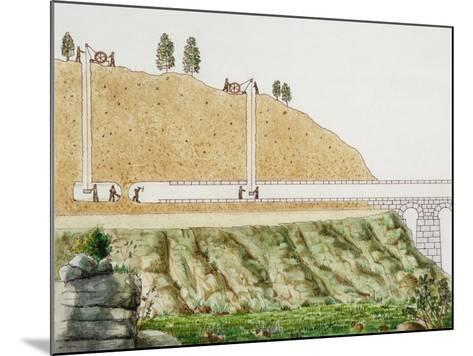 Constructing the Aqueduct Passing Through Mountain--Mounted Giclee Print