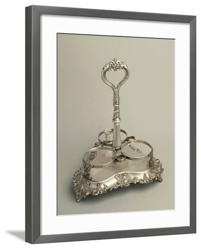 Embossed, Sheffield Plate Bottle Rack, Decorated with Vine-Branches--Framed Art Print