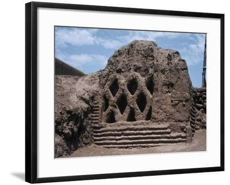 Peru, La Libertad, Wall Carvings at Chan Chan Archaeological Site--Framed Art Print
