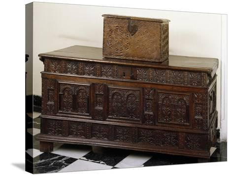 Carved Chest and Trunk, Spain--Stretched Canvas Print