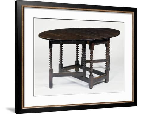 Round Table with Gate Legs, in Oak and Elm, Circa 1680, England--Framed Art Print