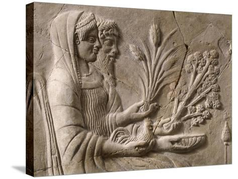 Italy, Calabria, Locri, Pinax Depicting Persephone and Pluto Sitting, Terracotta--Stretched Canvas Print