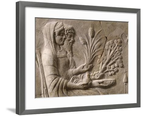 Italy, Calabria, Locri, Pinax Depicting Persephone and Pluto Sitting, Terracotta--Framed Art Print