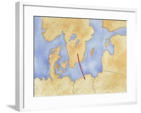 Map of Northern Europe and Goth Migration--Framed Art Print
