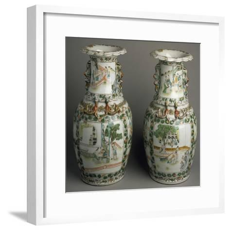 Ceramic Vases with Expanded and Lobed Mouth, China--Framed Art Print
