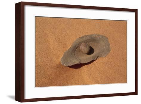 Egypt, Libyan-Nubian Sahara Desert, Surroundings of Gilf Kebir, Millstone--Framed Art Print