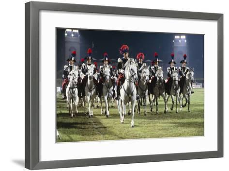 Italy, Milan, Civic Arena, Carousel of Police on Horseback--Framed Art Print
