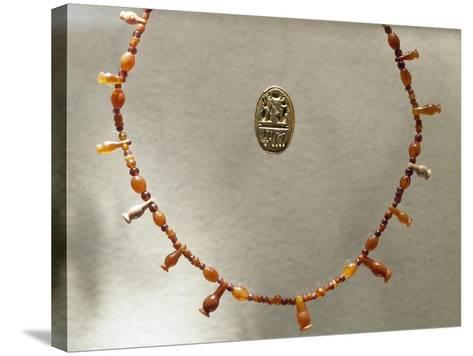 Carnelian Necklace and Gold Ring Dedicated to Ramesses II--Stretched Canvas Print
