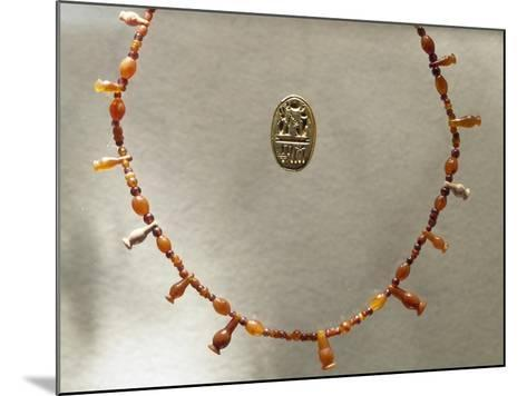 Carnelian Necklace and Gold Ring Dedicated to Ramesses II--Mounted Giclee Print