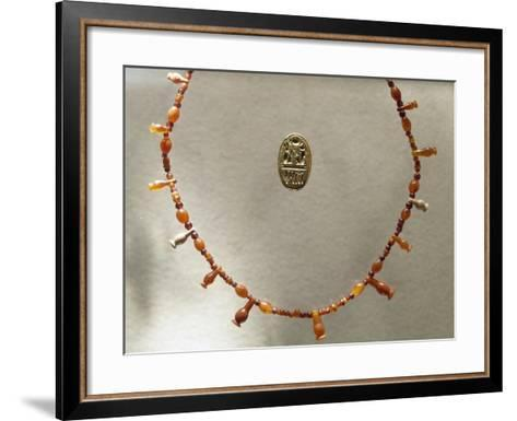 Carnelian Necklace and Gold Ring Dedicated to Ramesses II--Framed Art Print