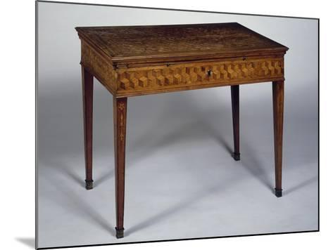Neoclassical Style Writing Desk with Geometric Inlays and Sliding Top, Ca 1780, Germany--Mounted Giclee Print