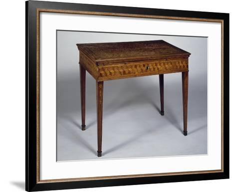 Neoclassical Style Writing Desk with Geometric Inlays and Sliding Top, Ca 1780, Germany--Framed Art Print