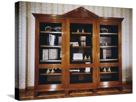 Oak Bookcase with Mahogany Veneer Finish, Circa 1790, France--Stretched Canvas Print