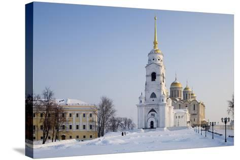 Russia, Golden Ring, Vladimir, Belltower and Assumption Cathedral--Stretched Canvas Print