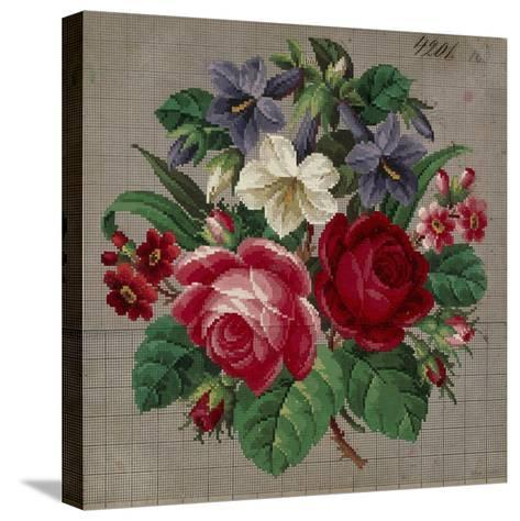 Bunch of Roses, Primulas and Gentians Embroidery Design--Stretched Canvas Print