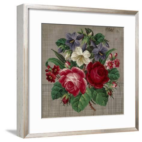 Bunch of Roses, Primulas and Gentians Embroidery Design--Framed Art Print