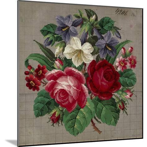 Bunch of Roses, Primulas and Gentians Embroidery Design--Mounted Giclee Print