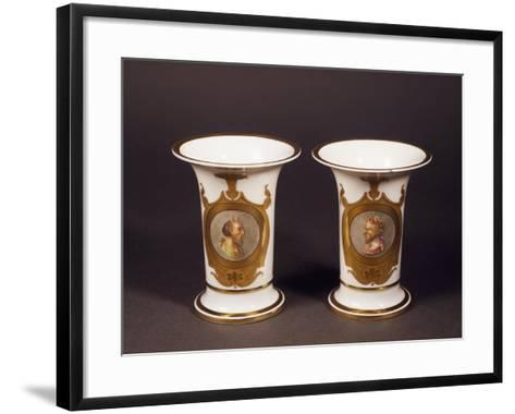 Pair of Trumpet-Shaped Vases, 1820--Framed Art Print