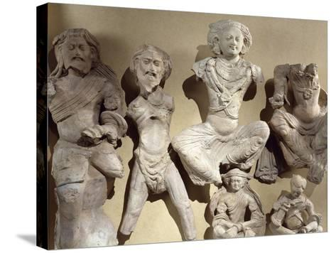 Buddha's Previous Lives, Visvamtara Jataka, Clay Figures from Tumshuq Province--Stretched Canvas Print
