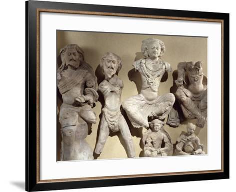 Buddha's Previous Lives, Visvamtara Jataka, Clay Figures from Tumshuq Province--Framed Art Print