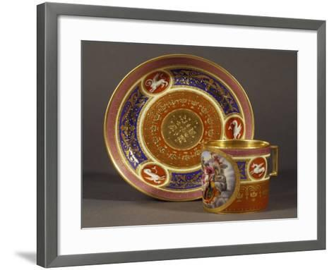 Cup and Saucer Decorated in Pink and Light Blue, with Rape of Proserpine in Medallion--Framed Art Print