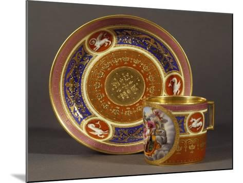 Cup and Saucer Decorated in Pink and Light Blue, with Rape of Proserpine in Medallion--Mounted Giclee Print