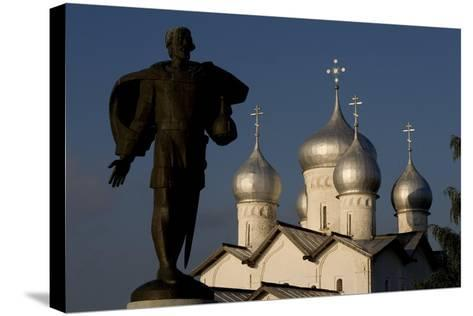 Russia, Veliky Novgorod, Alexander Nevsky Statue and Domes of Church of Saints Boris and Gleb--Stretched Canvas Print