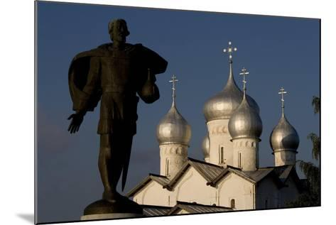 Russia, Veliky Novgorod, Alexander Nevsky Statue and Domes of Church of Saints Boris and Gleb--Mounted Giclee Print