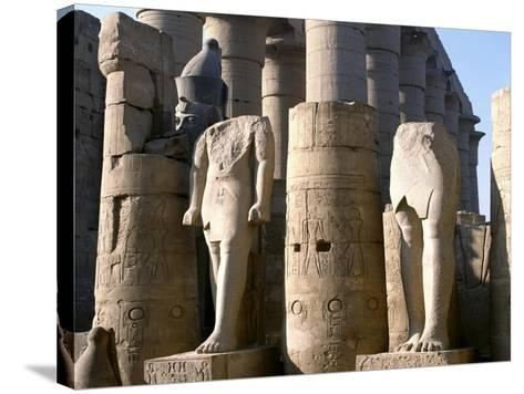 Egypt, Old Thebes, Luxor, Karnak Temple Complex, Precinct of Amun-Re, Court of Ramses II--Stretched Canvas Print
