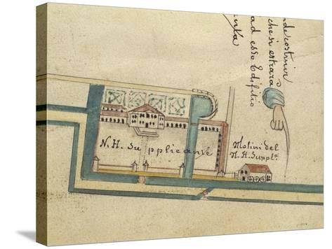 Map of Villa Contarini at Piazzola Sul Brenta, Padua Province--Stretched Canvas Print
