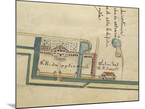 Map of Villa Contarini at Piazzola Sul Brenta, Padua Province--Mounted Giclee Print