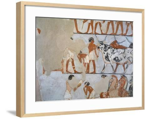 Egypt, Thebes, Luxor, Tomb of Army General Tjenuny, Mural Paintings Showing Cows and Horses--Framed Art Print