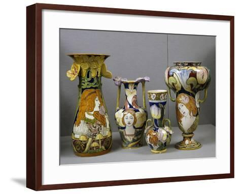 Art Nouveau Vases Decorated with Female Figures and Stylized Plant Motifs, Majolica, Italy--Framed Art Print