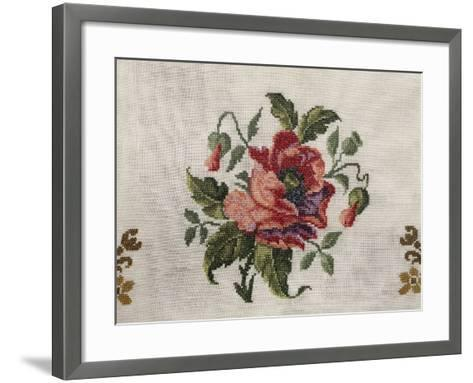 Tea Tablecloth, Embroidered in Cross-Stitch on Linen, Depicting Bunch of Poppies, 1800--Framed Art Print