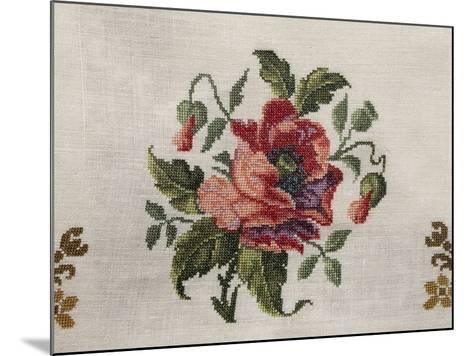 Tea Tablecloth, Embroidered in Cross-Stitch on Linen, Depicting Bunch of Poppies, 1800--Mounted Giclee Print